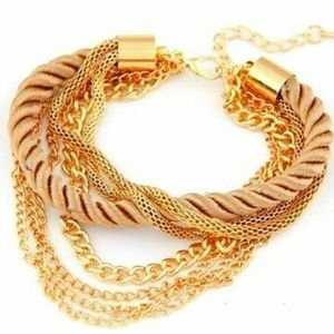 Rope Chain Bracelet Gold Tone Layered